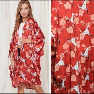 Coral Red kimono in Floral Print w. Bull Skull!